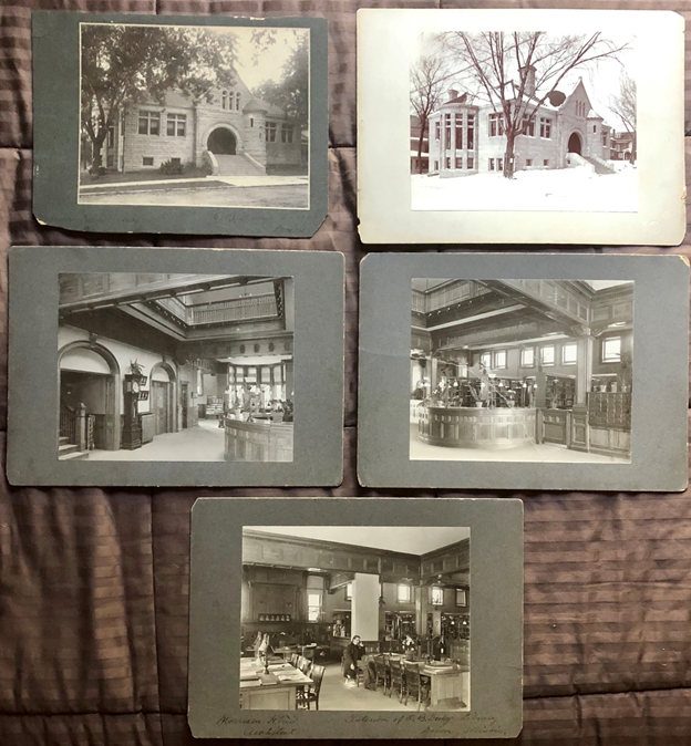 5 photos of the Dixon Public Library on a mat board.