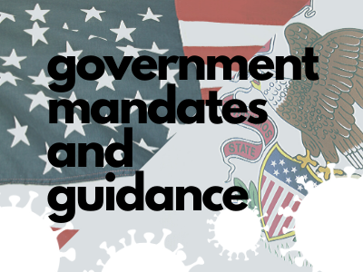 Button: COVID-19 government mandates and guidance